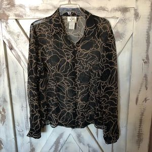 Sheer black and gold beaded blouse